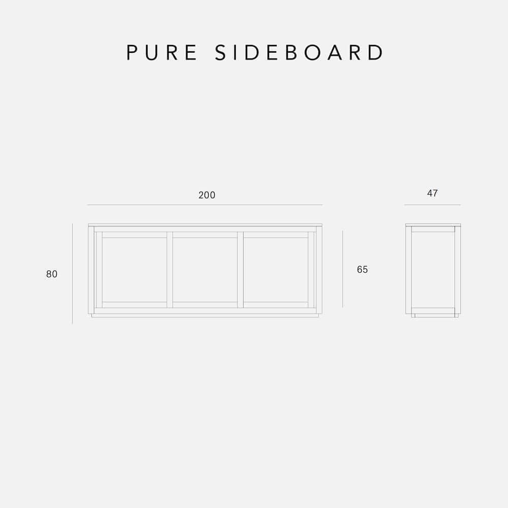 Teak Pure Sideboard - 3 Sliding Doors