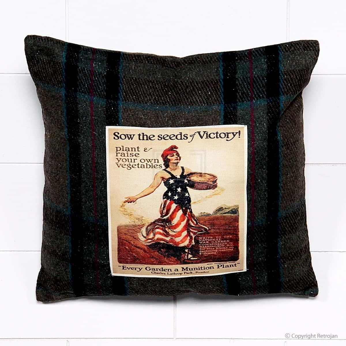 Blanket Vintage Advertisement Cushion - Sow The Seeds