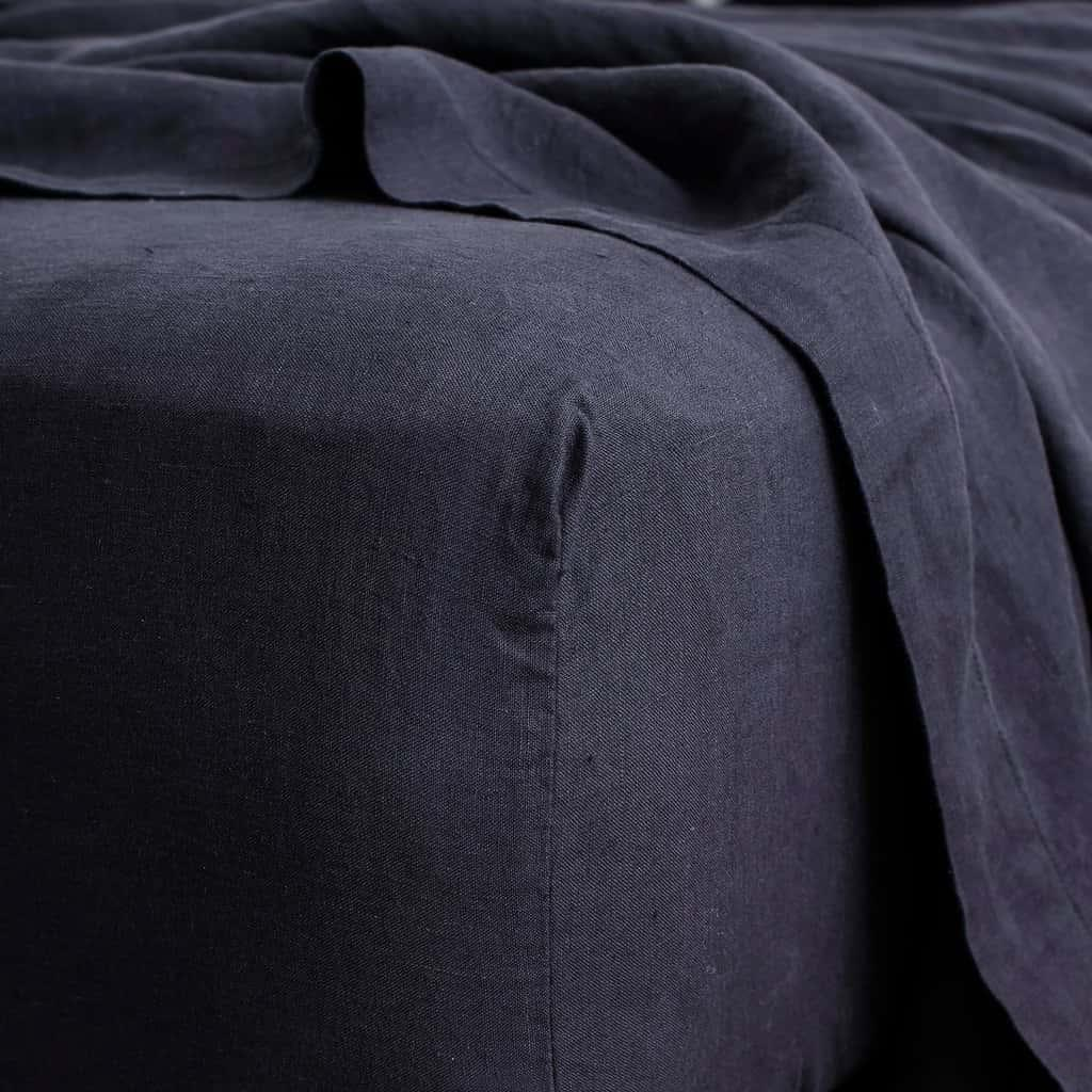 Linen Sheet Set - Navy [Size: Queen]