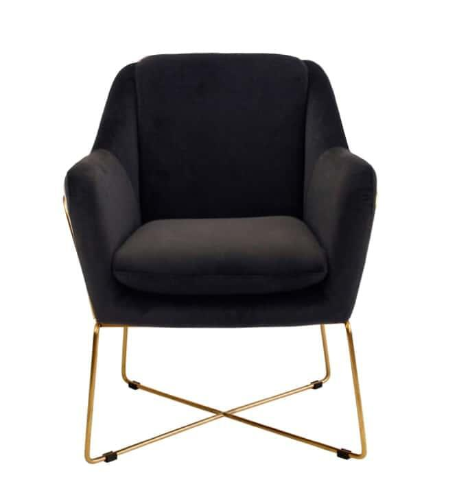 Milan Velvet Arm Chair - Black