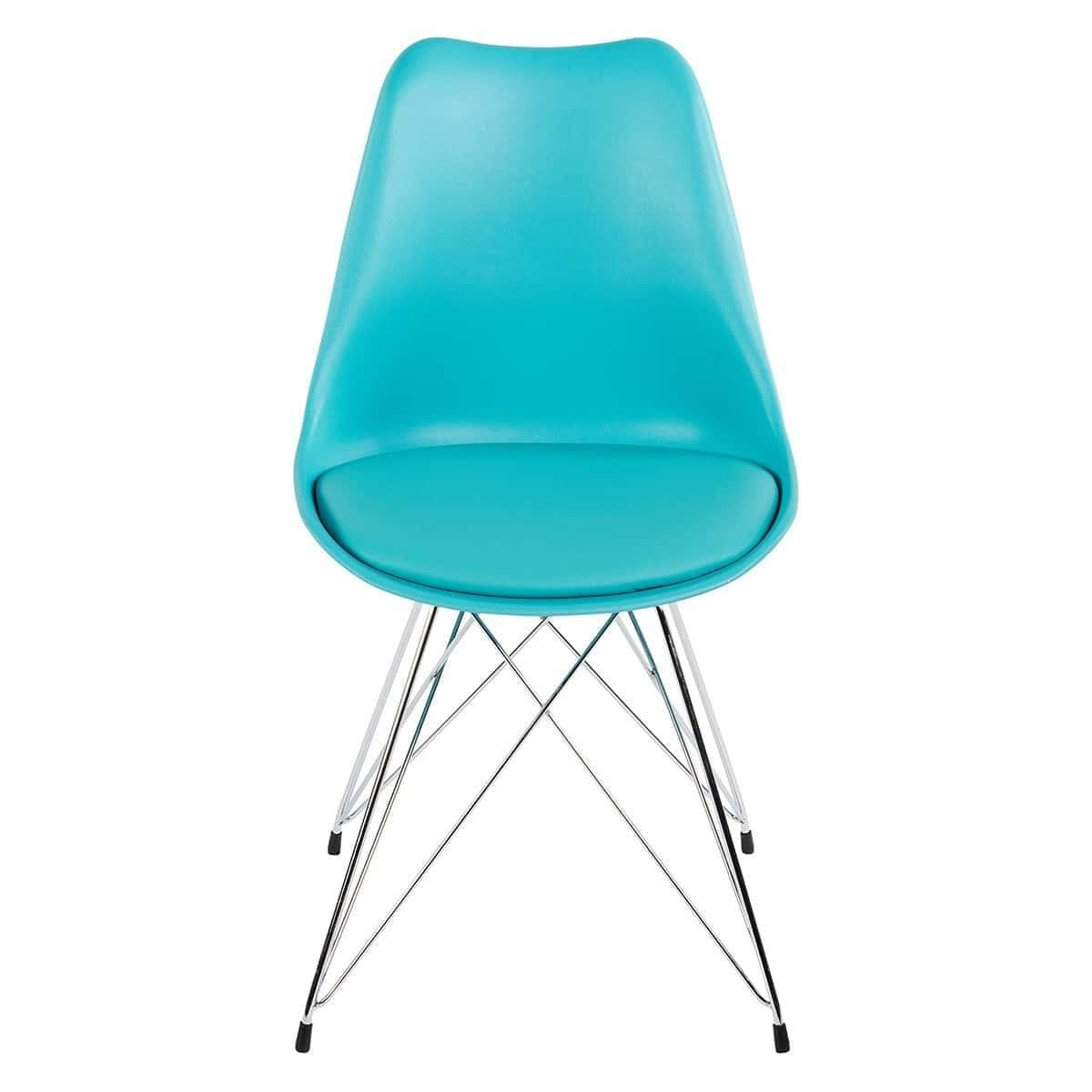 SET OF 2 Replica Eames DSR Chrome Eiffel Chair - Turquoise