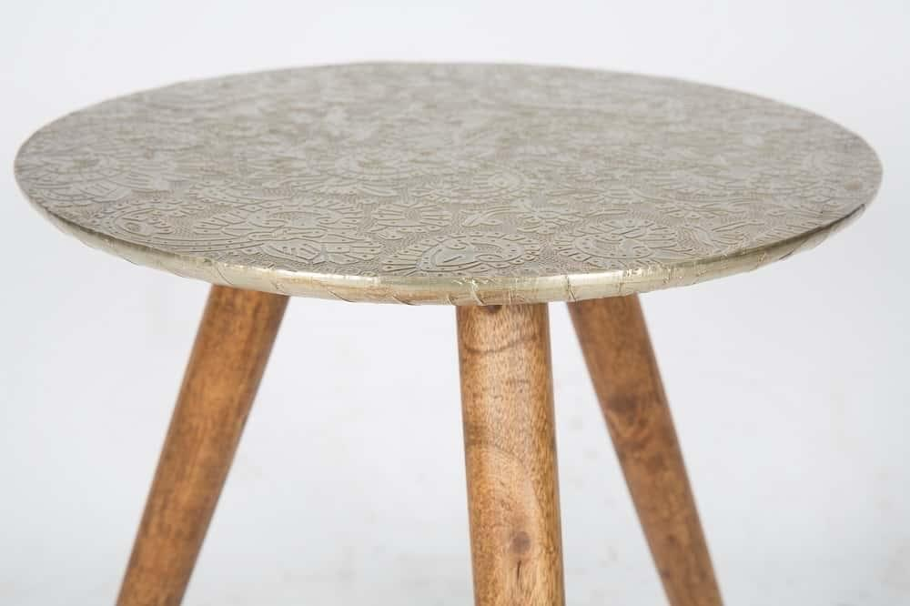 Ilaria Modern Designer Wood and Metal Carved Stool - Antique White