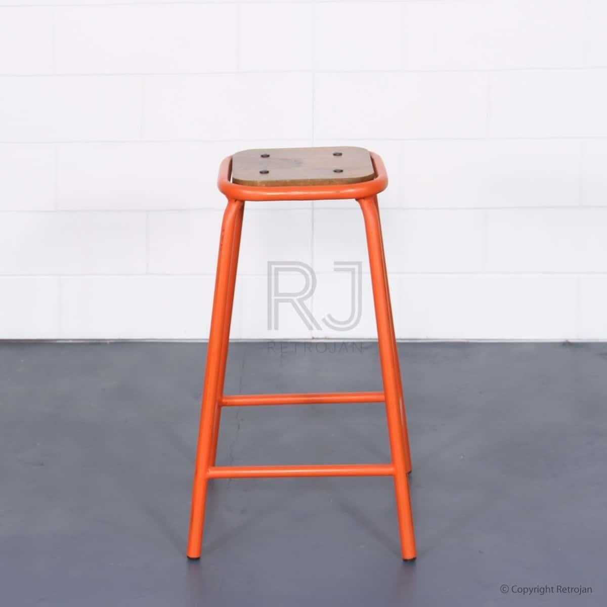 Tall Baez Industrial Style Stool - Orange