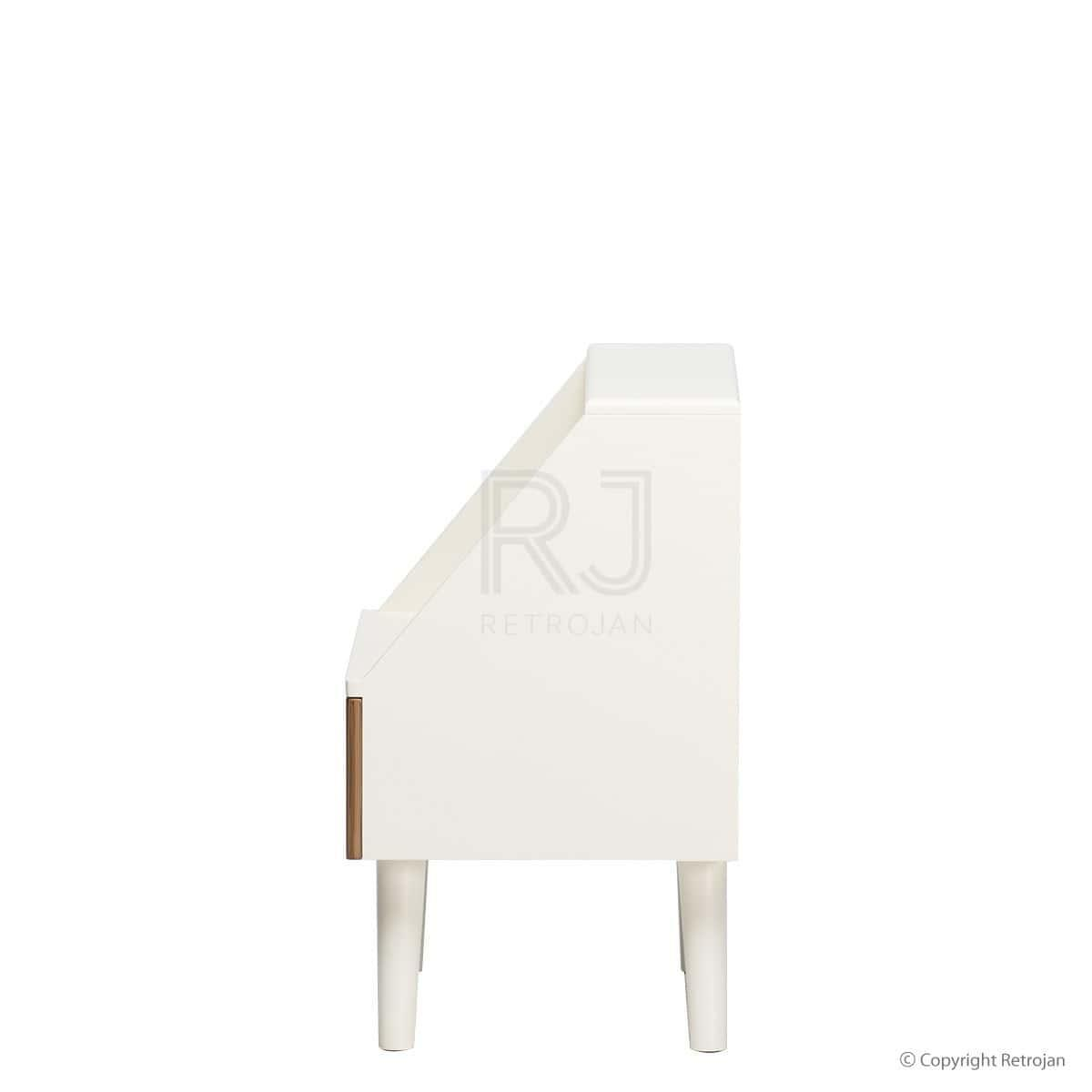 Frederick Retro Style Side Table - White/Natural