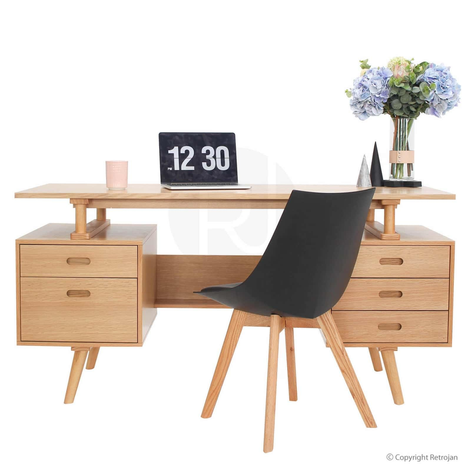 [Package] Haakon Scandinavian Style Bookshelf and Josephine Desk in Oak