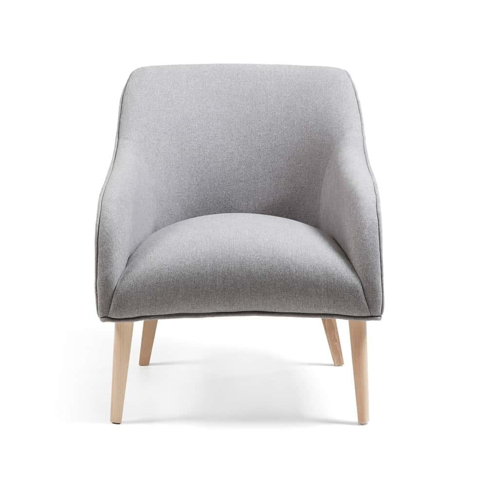 Reese Designer Armchair - Grey / Natural Legs
