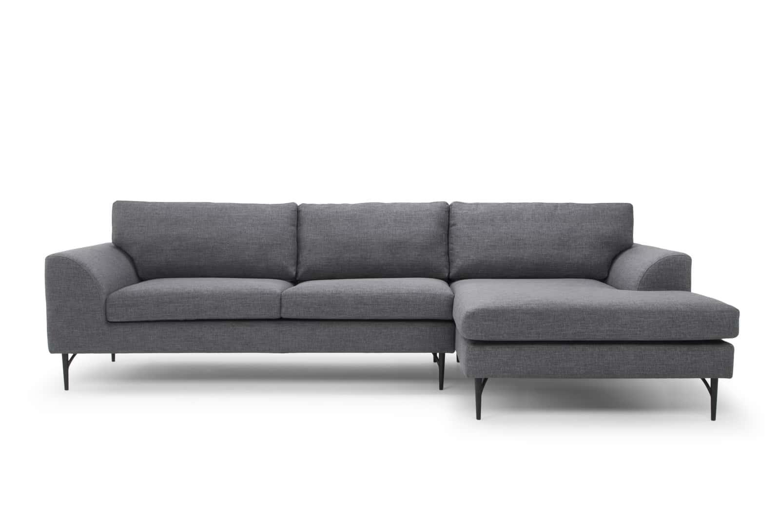 Sienna Modern Designer 3 Seater Sofa with Chaise - Steel - Right Hand Facing