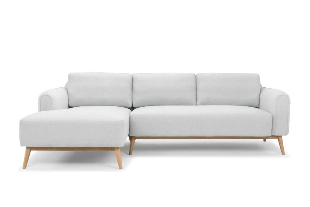LAST ONE - Hunter Danish Style 3 Seater Sofa with Chaise - Pale Grey - Left Hand Facing