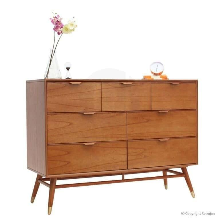 Eva Scandinavian Style Dresser 7 Drawer Chest