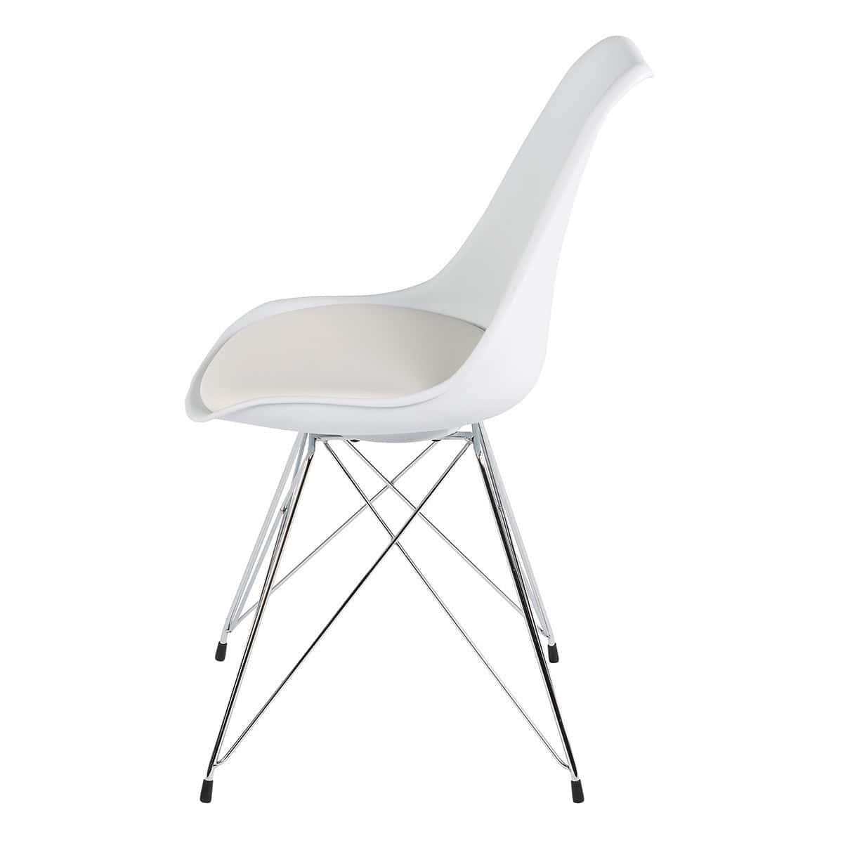 SET OF 2 Replica Eames DSR Chrome Eiffel Chair - White