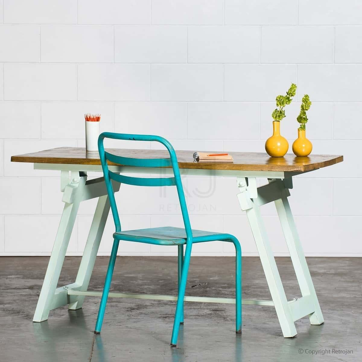 Louis Industrial Table - Light Blue