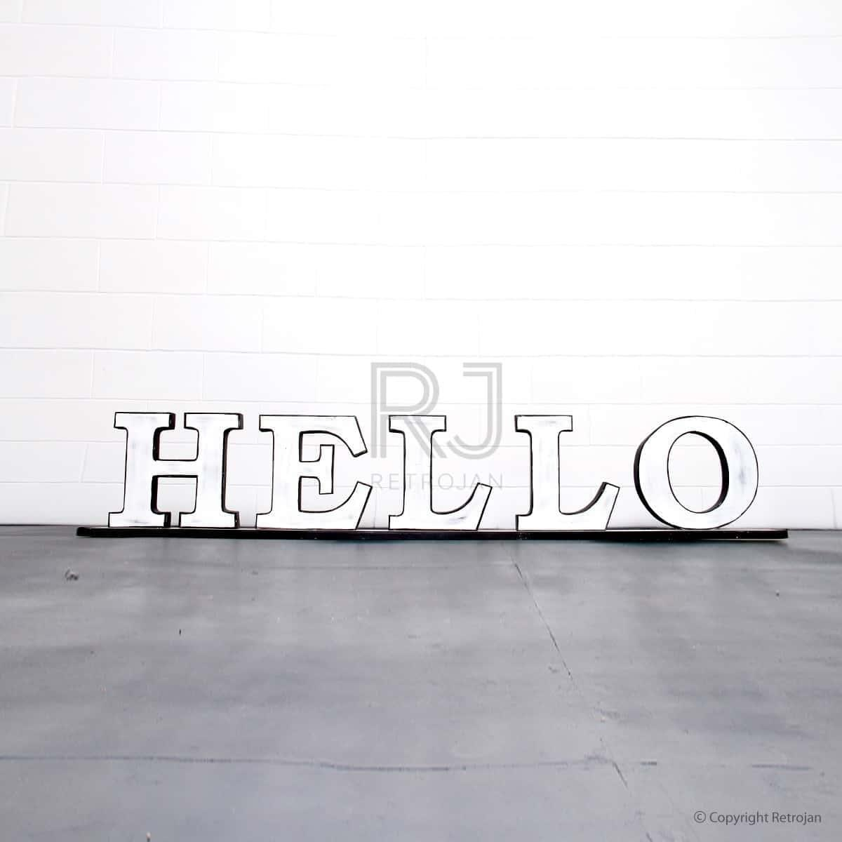 Hello'  Retro Iron Feature Letters - White / Black