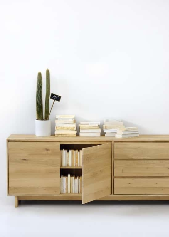 Oak Wave Sideboard - 2 Door/ 3 Drawers