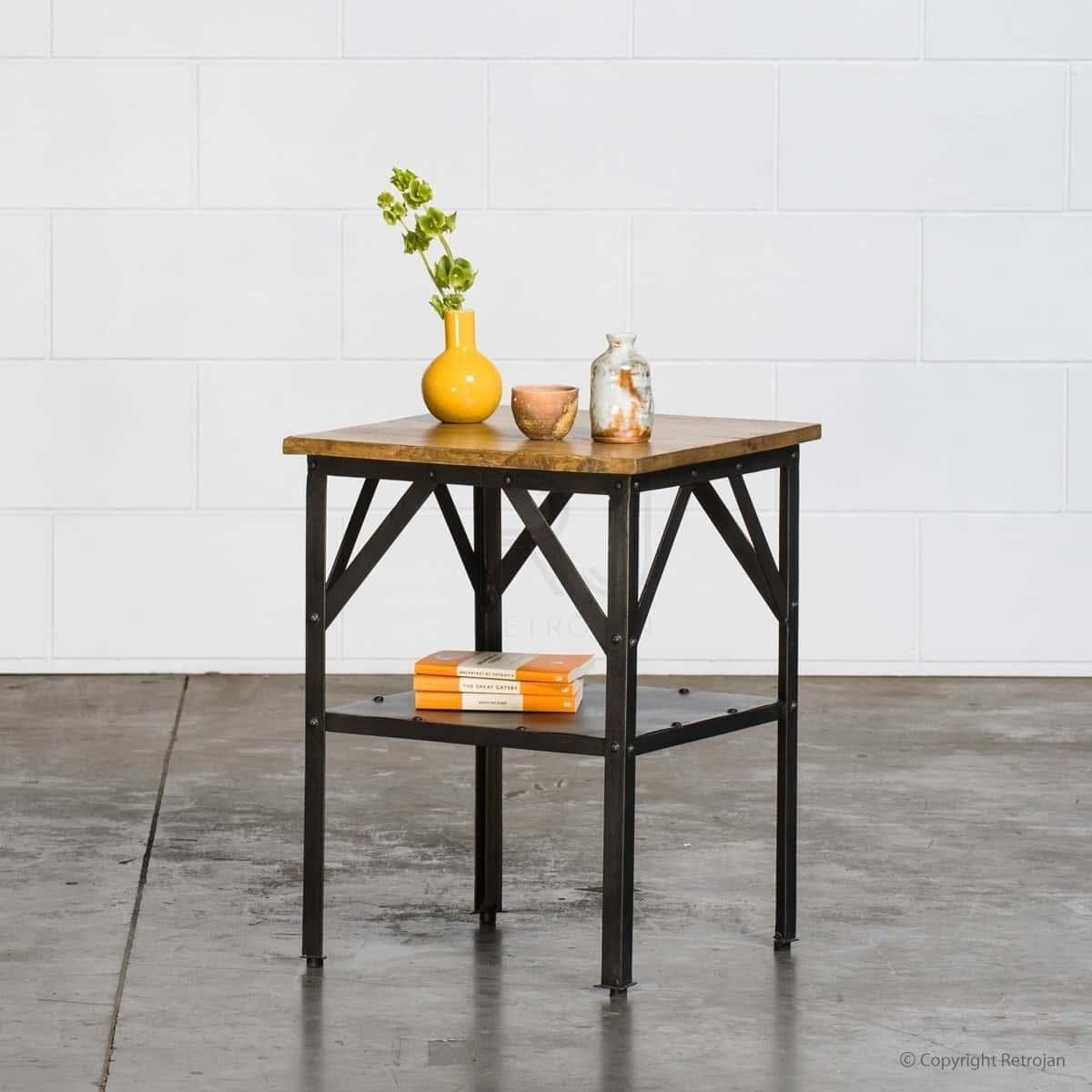 Larry Industrial Side Table - Black