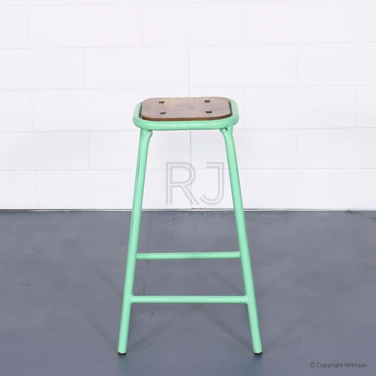 Tall Baez Industrial Style Stool - Mint Green