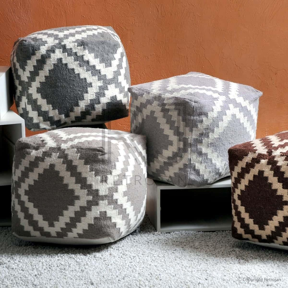 buy regal woollen pouf taupe ivory online. Black Bedroom Furniture Sets. Home Design Ideas