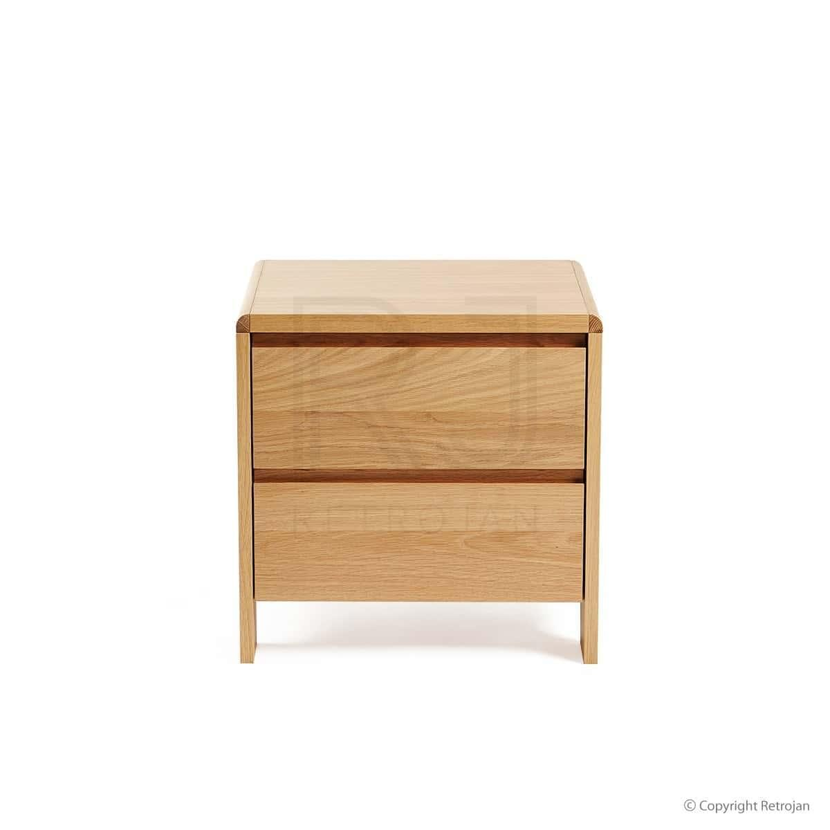 St George Designer 2 Drawer Bedside Table - Oak