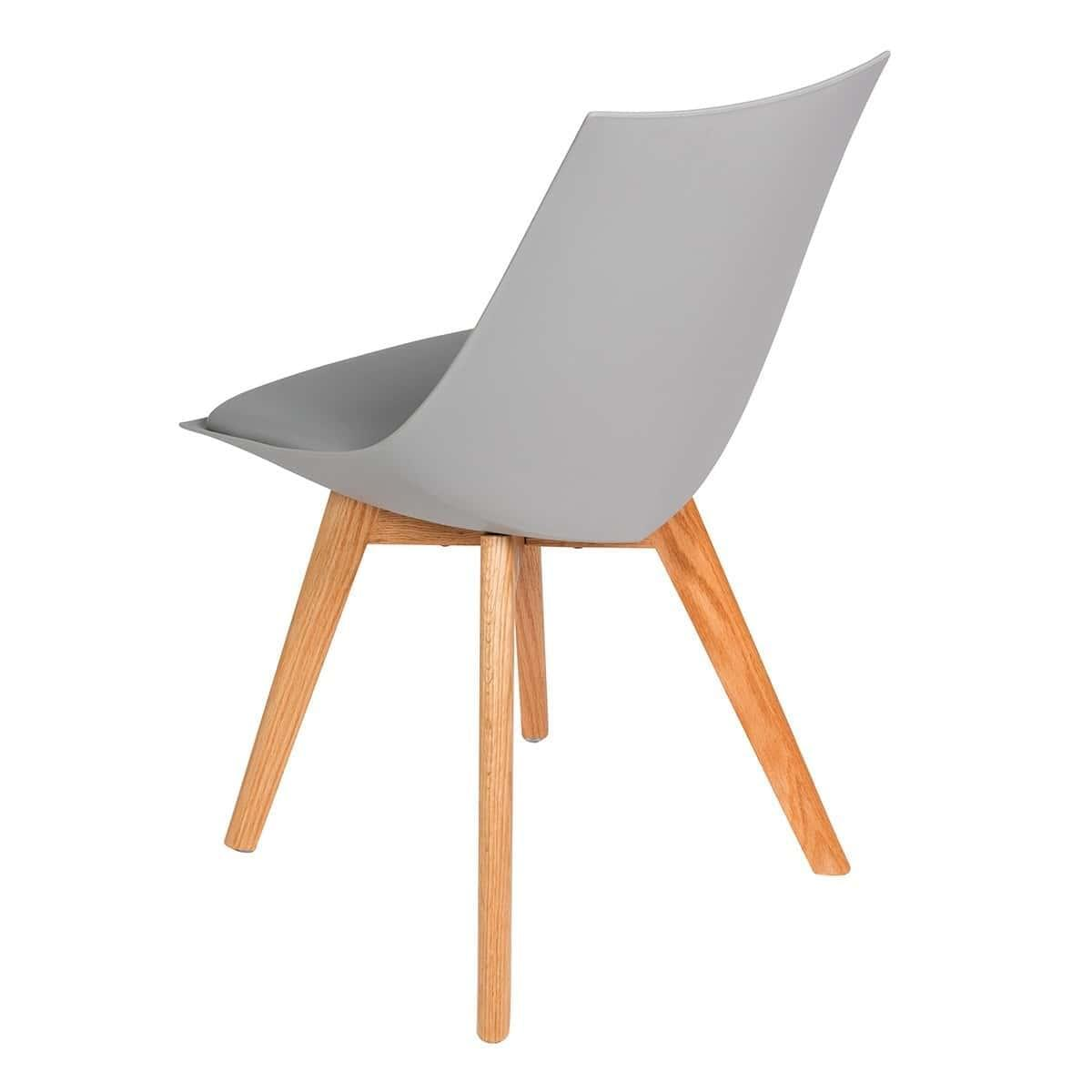 Set of 2 Arlo Modern Designer Dining Chair - Grey with Oak Legs