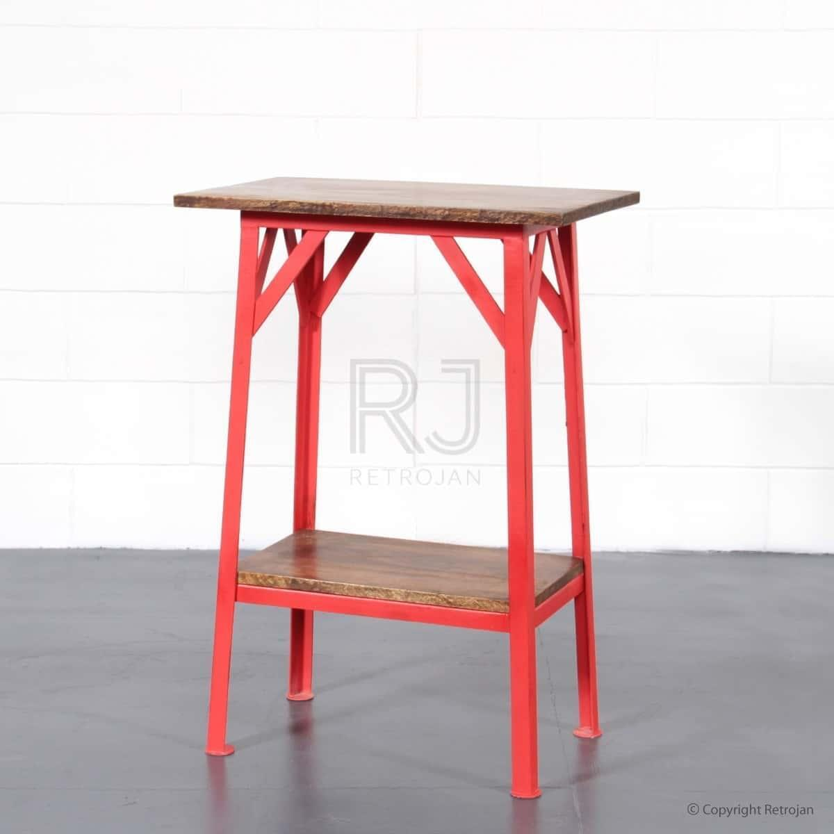 Artie Industrial Side Table - RED
