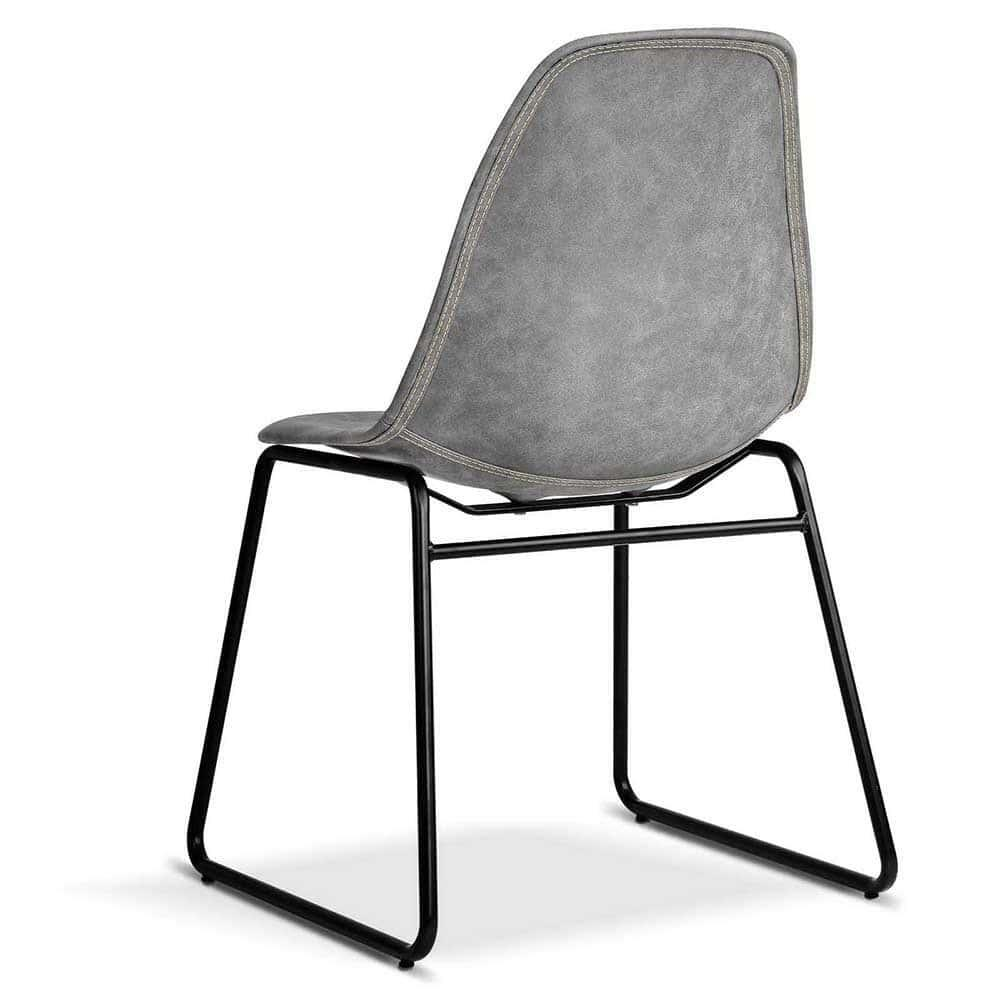 Set of 2 Parker PU Leather Dining Chairs - Grey