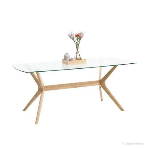 Harper Glass Top Dining Table - Oak