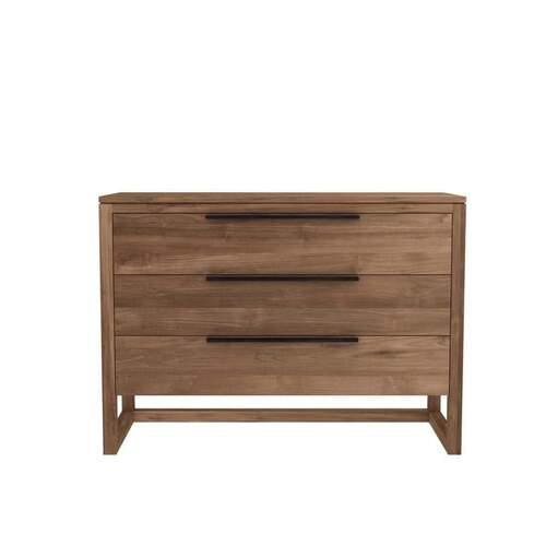 Teak Light Frame Chest of Drawers - 3 Drawers