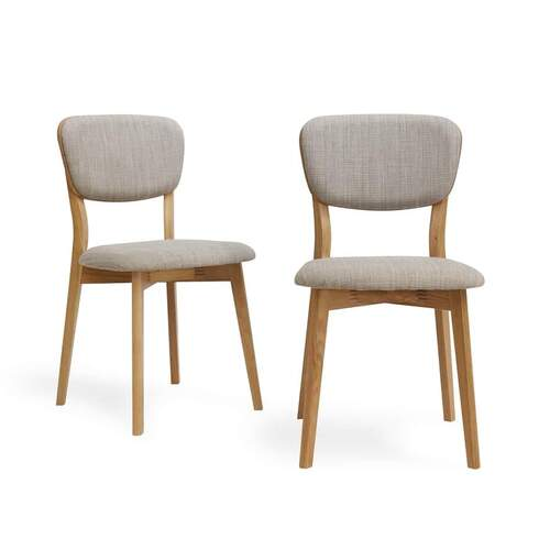 Set of 2 Linden Contemporary Linen Back Dining Chair