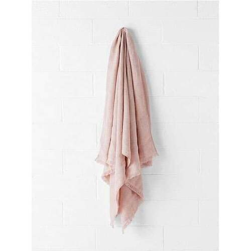 Vintage Linen Throw - Rose Dust