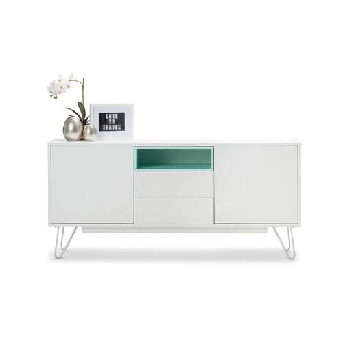 Melania Modern Designer Sideboard TV Unit - White and Mint