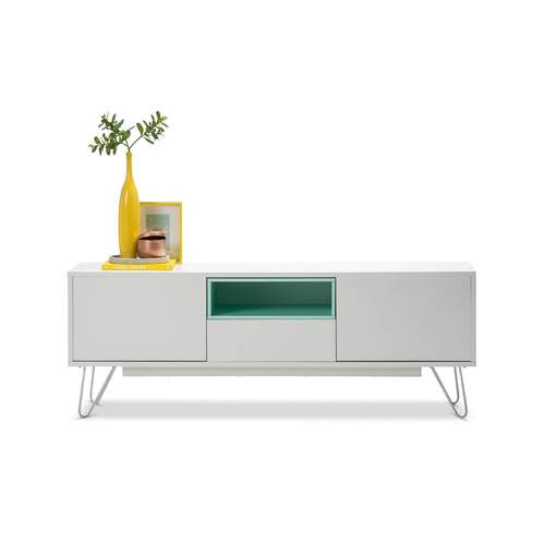 Leia Scandinavian Style TV Unit - White and Mint