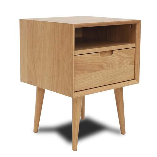 Mia Nightstand with Shelf - Oak