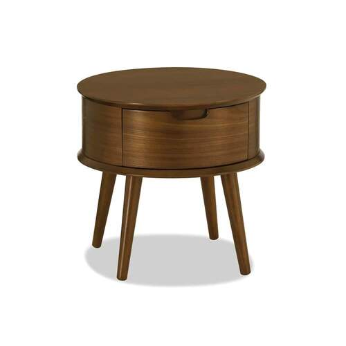 Mia Round Nightstand - Walnut