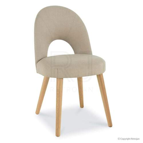 SET OF 2 Vaasa Upholstered Chairs - Stone/Oak