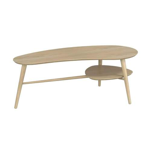 Sadie Oblong Coffee Table with Shelf - Washed Oak