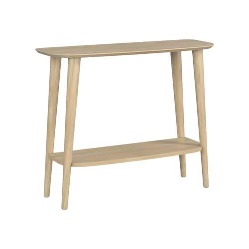 Sadie Console Table with Shelf - Washed Oak