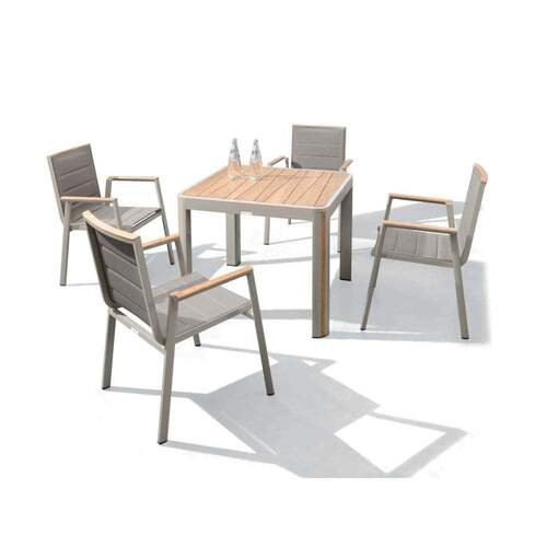 Geneva 5 Piece Outdoor Dining Setting - Champagne