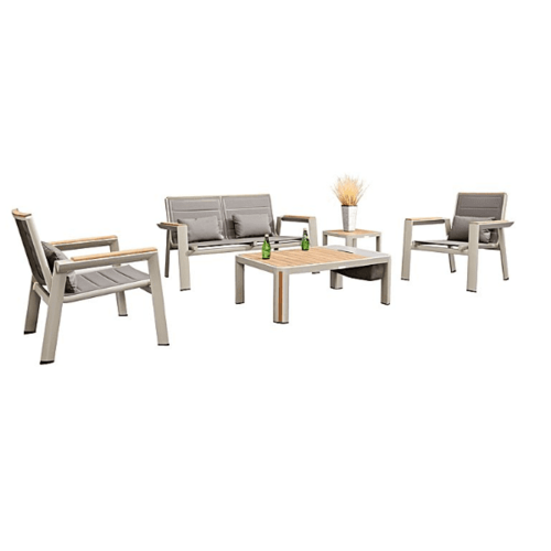 Geneva 5 Piece Outdoor Lounge Setting - Champagne