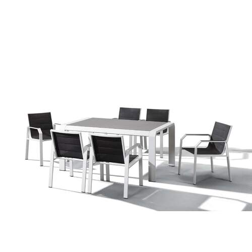 Indosoul Nomad 7 Piece Outdoor Dining Setting - White