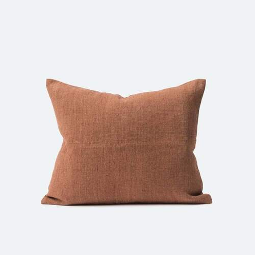 Heavy Linen Jute Cushion - Rose