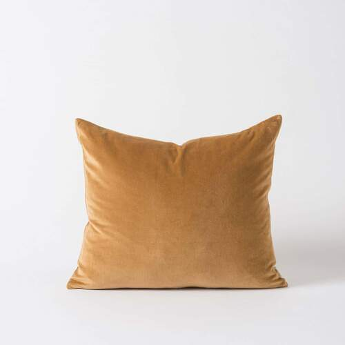 Cotton Velvet Cushion - Curry