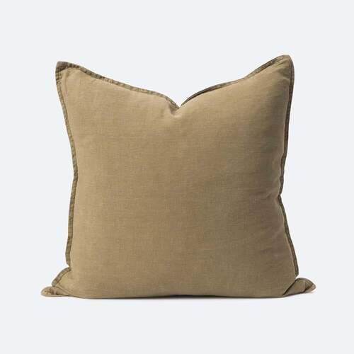 Washed Linen Cushion - Matcha