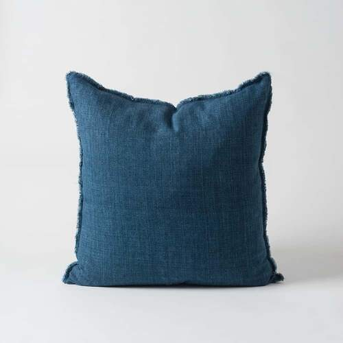 Hand Woven Linen Cushion w/Raw Edge - Ink