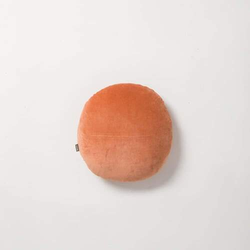 Cotton Velvet Round Cushion - Carrot