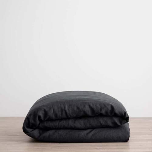 Linen Duvet Cover - Black