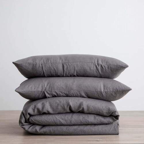 Linen Duvet Set - Charcoal Grey [Size: Queen]