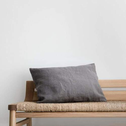 Les Minis Linen Cushion - Charcoal Grey