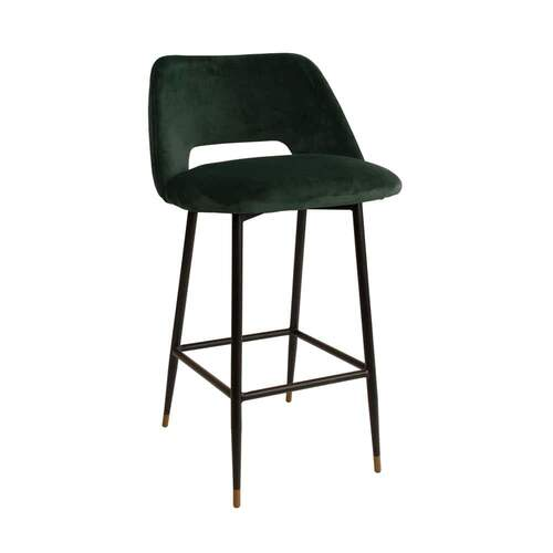 Milan Velvet Bar Stool - Dark Green