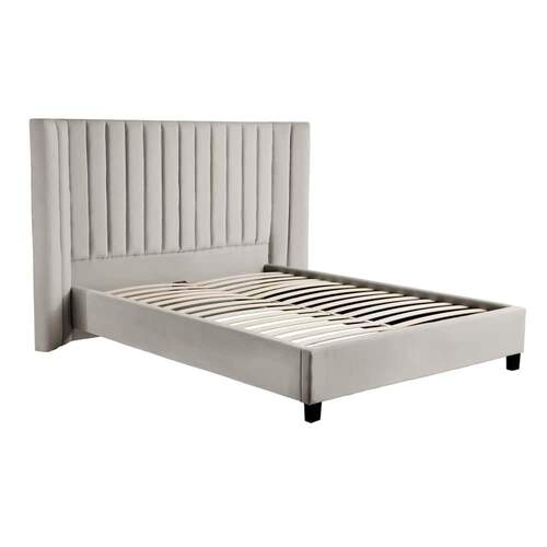 Lulu Velvet Bed Light Grey - Queen
