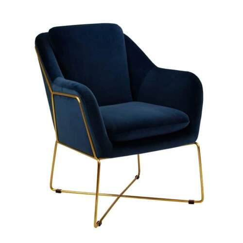 Milan Velvet Arm Chair - Navy