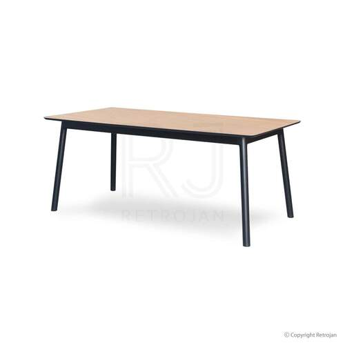 Eva Scandinavian Style 6 Seater Dining Table - Light Natural/ Black